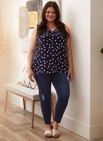 Jean taille haute à déchirures et perles, Bleu,  pantalon, jeans, bas, taille haute, jambe étroite, bouton, glissière, ganses pour ceinture, poches, rivets métalliques, détail, déchirures, perles, denim extensible, automne 2021