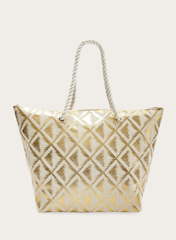 Metallic Print Handbag With Rope Handles, Gold, hi-res