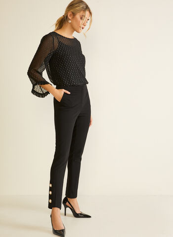 City Fit Button Detail Pants, Black,  fall winter 2020, city fit, mid rise, pull on, pull-on, button detail, pearl, straight leg, pocket, comfort, stretch, pants, crepe,
