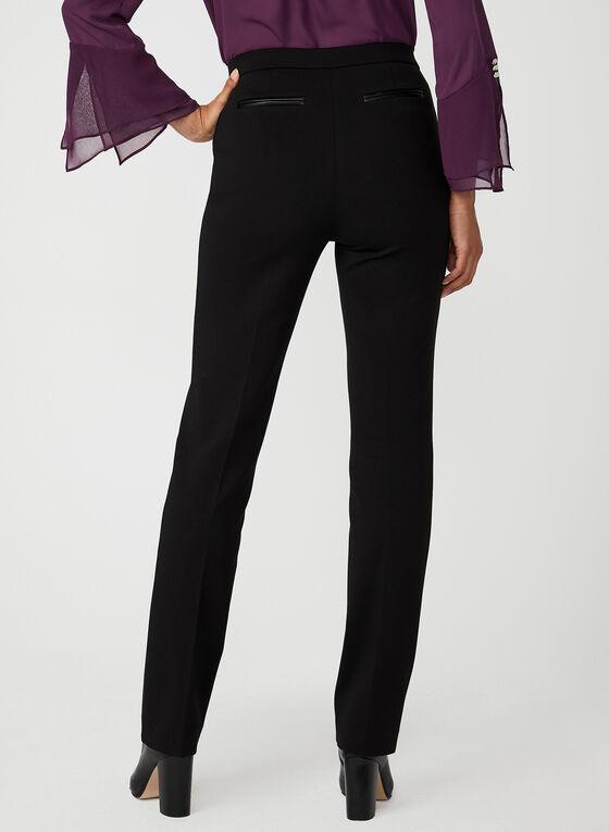 Faux Leather Trim Signature Pants, Black, hi-res