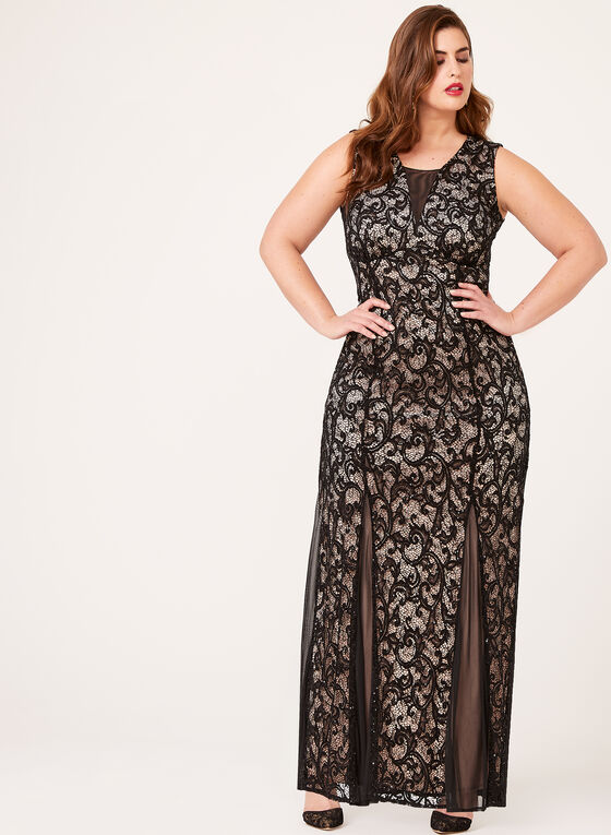 Sequin Lace Mermaid Gown, Black, hi-res