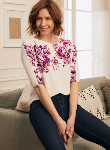 Floral Print 3/4 Sleeve Top, White,  top, floral print, boat neck, 3/4 sleeves, crepe, made in Canada, spring summer 2021
