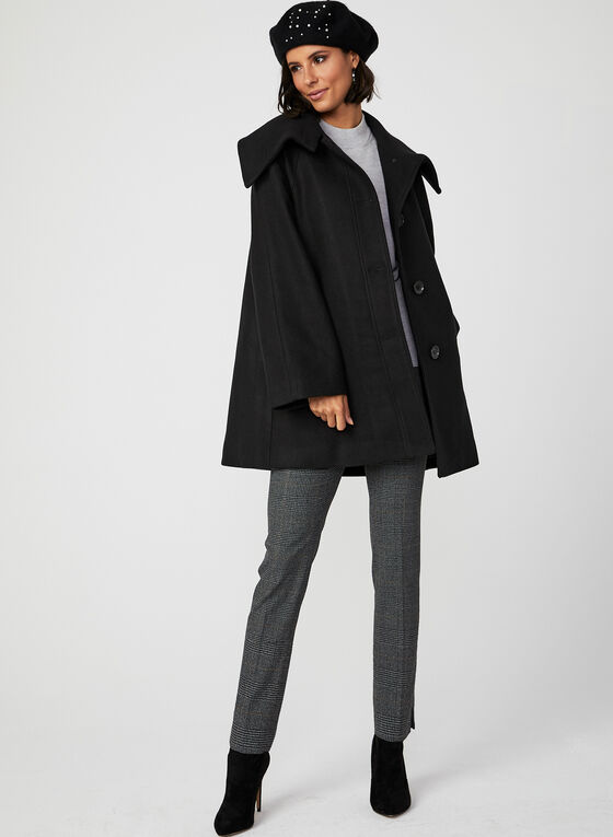 Envelope Collar Button Down Coat, Black, hi-res
