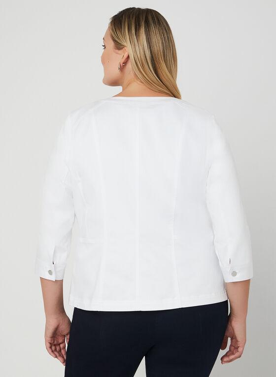Veste boutonnée à manches ¾, Blanc