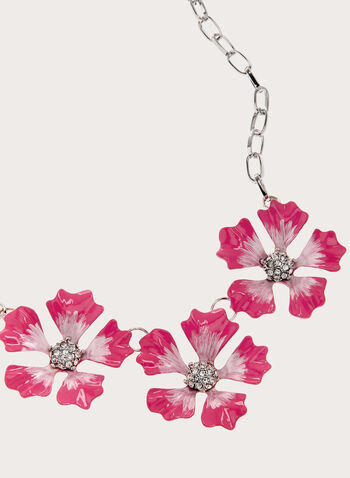 Flower Detail Chain Necklace, Red, hi-res