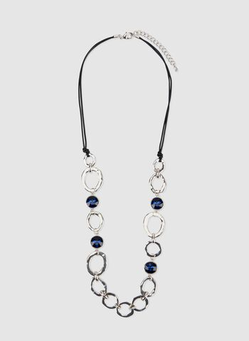 Crystal & Chain Cord Necklace, Blue, hi-res