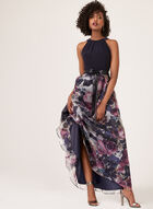 Floral Print Cleopatra Neck Dress, Black, hi-res