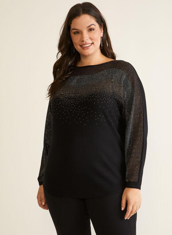 Embellished Dolman Sleeve Sweater, Black