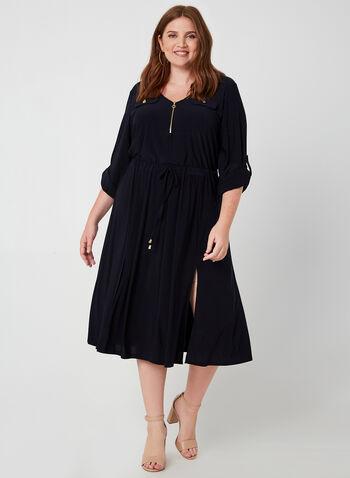 Emma & Michele - Jersey Dress, Blue,  v-neck, 3/4 sleeves, dress, day dress, drawstring, slits, fall 2019, winter 2019