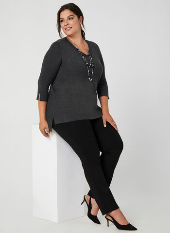 V-Neck ¾ Sleeve Sweater, Grey, hi-res,  v-neck top