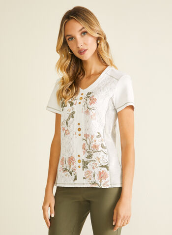 Floral Print Lace Detail Tee, White,  t-shirt, lace, button, striped, floral, v-neck, short sleeves, spring summer 2020