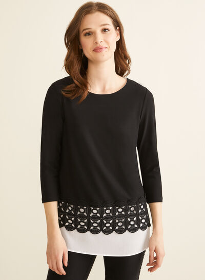 Embroidered Hem Layered Top