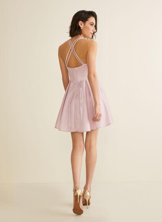 Robe courte scintillante à dos croisé, Rose