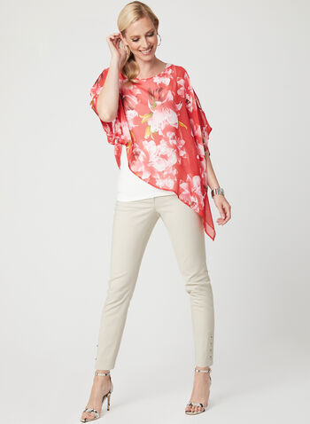 Floral Print Poncho Blouse, Orange, hi-res