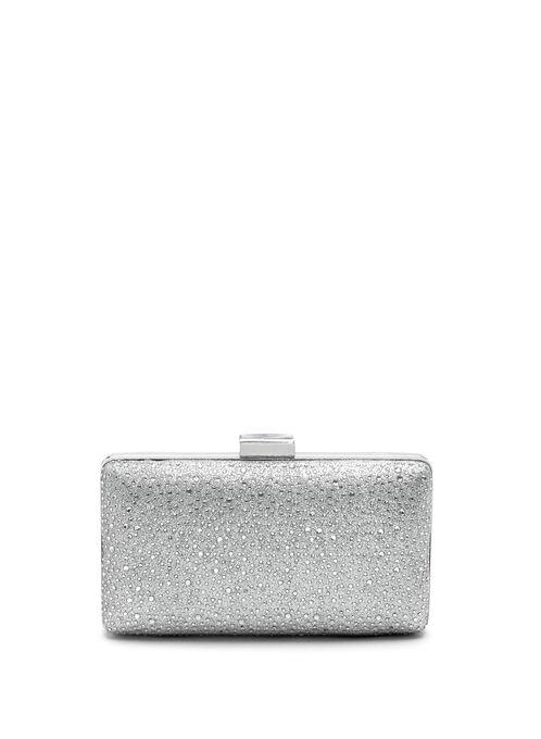 Crystal Embellished Box Clutch, Silver, hi-res