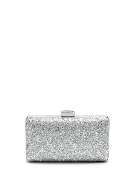 Crystal Embellished Box Clutch, Silver, hi-res