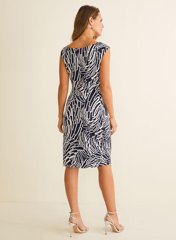 Textured Geometric Motif Dress, Blue