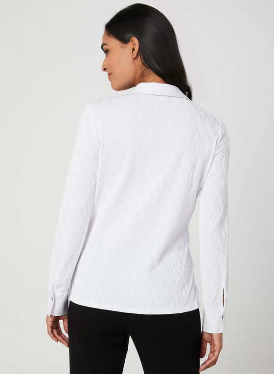 Long Sleeve Jacquard Blouse, White