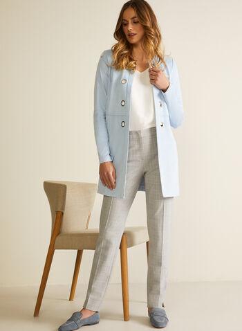 Pantalon coupe moderne motif tartan, Gris,  pantalon, moderne, jambe droite, tartan, pinces, printemps été 2020