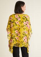 Blouse poncho motif floral, Vert