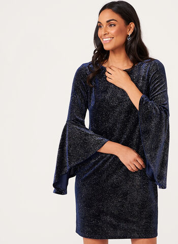 Shimmer Velvet Sheath Dress, Blue, hi-res