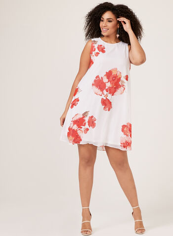 Jessica Howard – Floral Print Trapeze Dress, White, hi-res