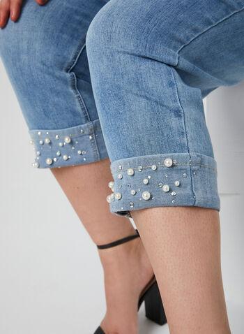 Capri en denim à détails perlés, Bleu, hi-res,  printemps 2019, pantacourt, denim, jean, jeans, 5 poches