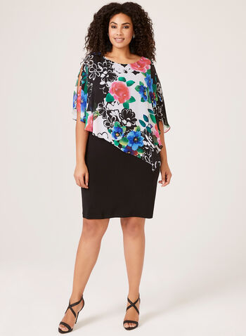Floral Poncho Day Dresses, Black, hi-res