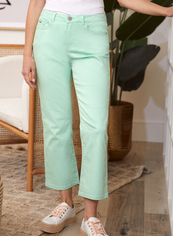 Flare Leg Denim Pants, Green,  spring summer 2021, made in canada, jeans, pants, denim, mid rise, flare leg, wide leg, button, zipper, pockets, stretchy, cotton, belt loops