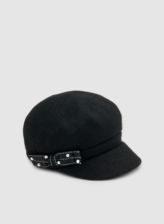 Ribbon Detail Newsboy Cap, Black