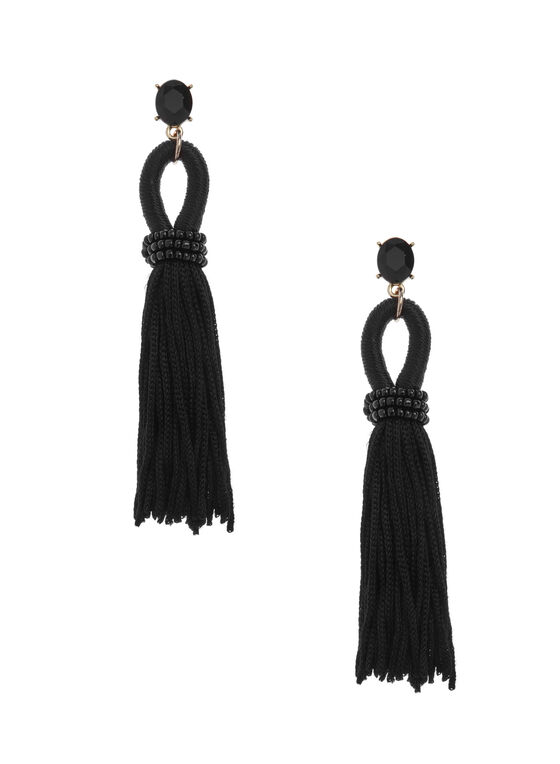 Bead & Tassel Earrings, Black, hi-res
