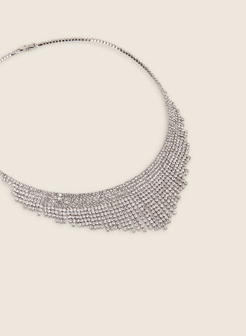 Crystal Cascade Bib Necklace, Silver,  necklace, bib, crystals, cascade, jewellery, accessories, evening, occasion, spring summer 2020