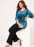 Tunique en velours épaules dénudées et manches ¾, Bleu, hi-res