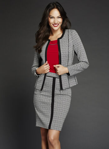Structured Houndstooth Jacket, Black, hi-res