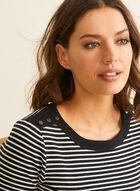 T-shirt rayé en coton, Noir