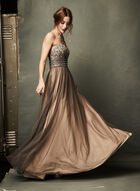 Strapless Beaded Ball Gown, Pink, hi-res
