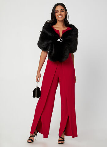 Faux Fur Stole, Black,  fall winter 2019, cape, evening wear, faux fur