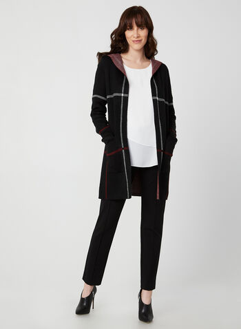 Charlie B - Plaid Cardigan, Black, hi-res,  Charlie B, cardigan, knit, long sleeves, hood, plaid, open front, fall 2019, winter 2019