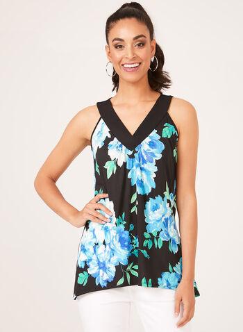 Floral Print Sleeveless Sharkbite Top, Blue, hi-res