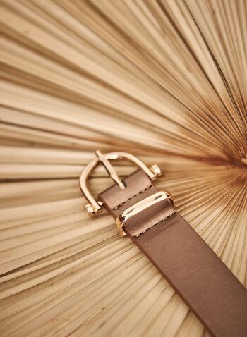 Horseshoe Buckle Belt, Beige,  fall winter 2021, accessory, accessories, belt, basic, essential, buckle, gold metal, faux leather,