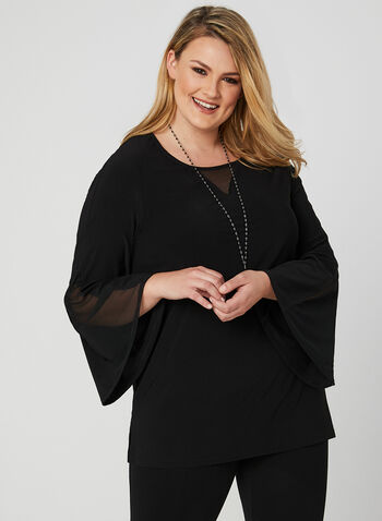 Fan Sleeve Blouse, Black, hi-res