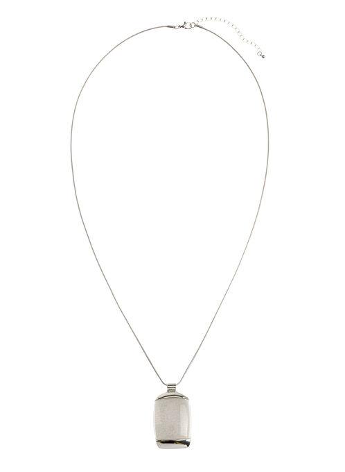 Marble Stone Pendant Necklace, White, hi-res