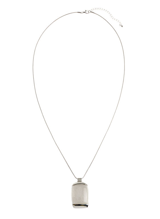 Marble Stone Pendant Necklace, White, hi-res