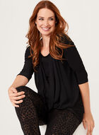 ¾ Sleeve Drape Effect Top , Black, hi-res