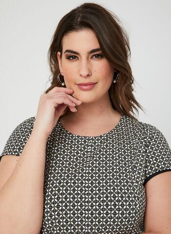 Textured Fit & Flare Dress, Black, hi-res,  floral, spring 2019