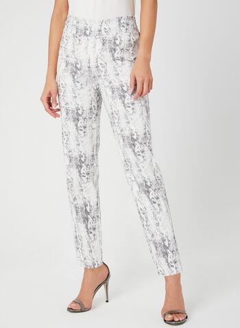 Pantalon à imprimé serpent, Blanc, hi-res,  jambe étroite, pull-on, taille élastique, coupe moderne, Canada, printemps 2019