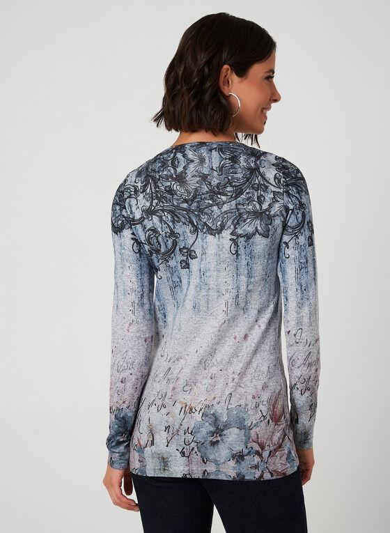 Vex - Haut en tricot à imprimés variés, Bleu, hi-res