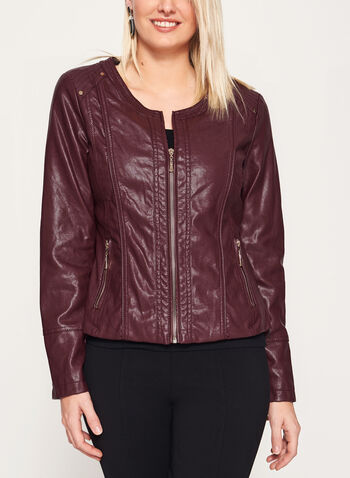 Ness - Faux Leather Zipper Trim Jacket, Red, hi-res