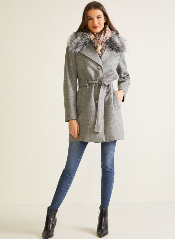 Stretch Wool Blend Coat, Grey