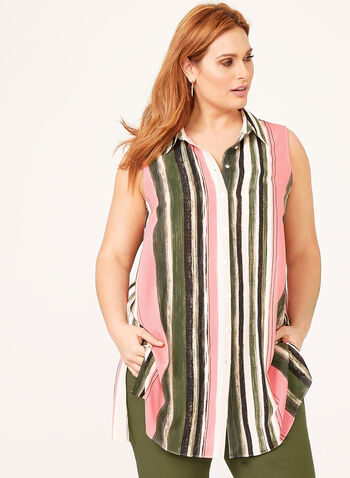 Stripe Print Sleeveless Tunic, Multi, hi-res
